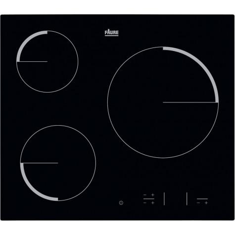 faure Table de cuisson vitrocéramique 60cm 3 feux 5700w noir faure