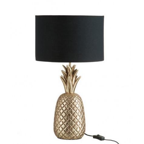 j-line Lampe ananas en rèsine or/noir j-line