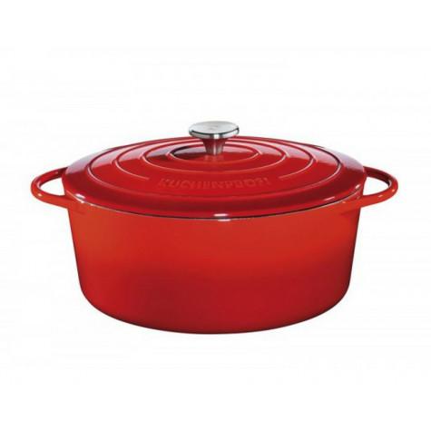 kuchenprofi Cocotte ovale en fonte émaillée 33cm rouge kuchenprofi