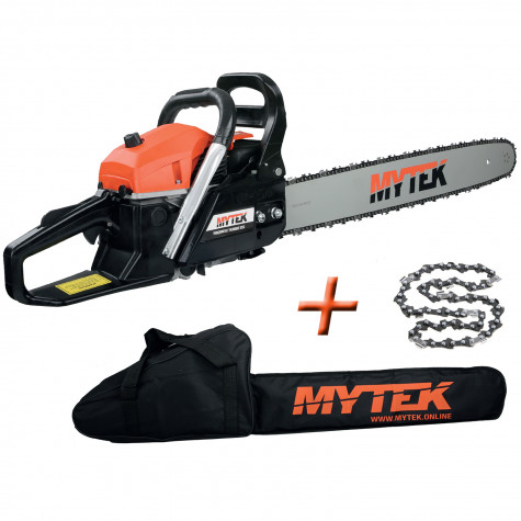 mytek tronçonneuse thermique 62cm3 avec 2 chaines guide 60cm et housse gpsot83230