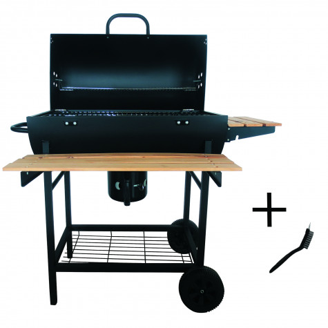 robby barbecue à charbon 70x35cm + brosse smoker chef xl +