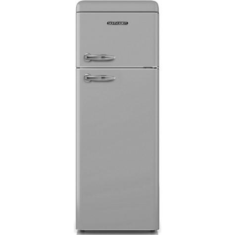 schneider Réfrigérateur combiné 55cm 208l a+ statique inox schneider