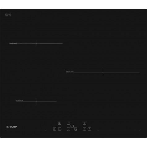 sharp Table de cuisson induction 60cm 3 feux 7200w noir sharp