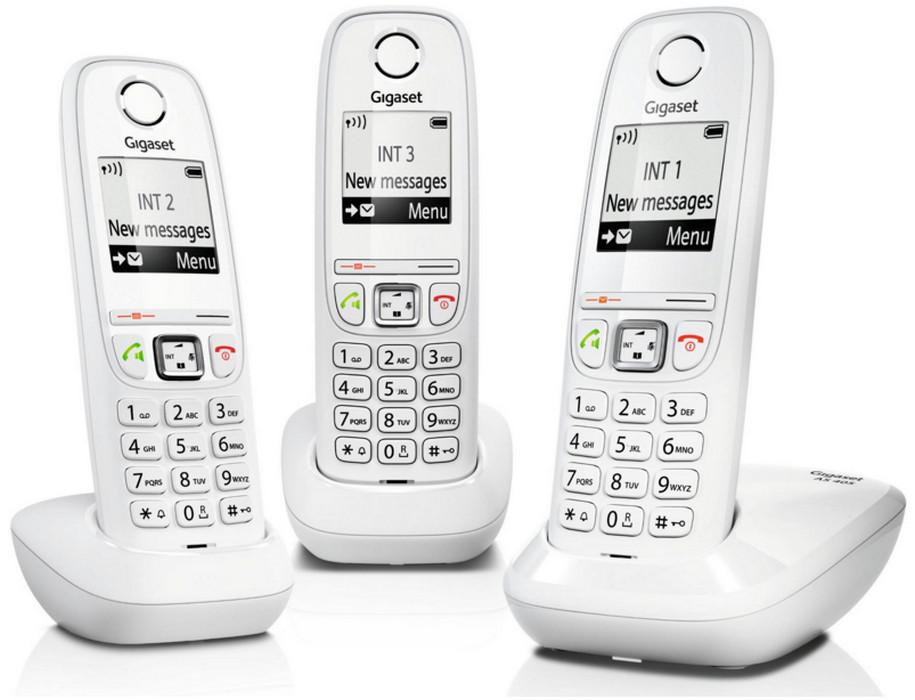 siemens t l phone sans fil trio dect blanc gigaas405trioblc gigaset nouveaux marchands. Black Bedroom Furniture Sets. Home Design Ideas