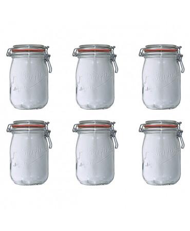 Lot de 6 bocaux en verre 1l