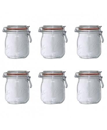 Lot de 6 bocaux en verre 750ml