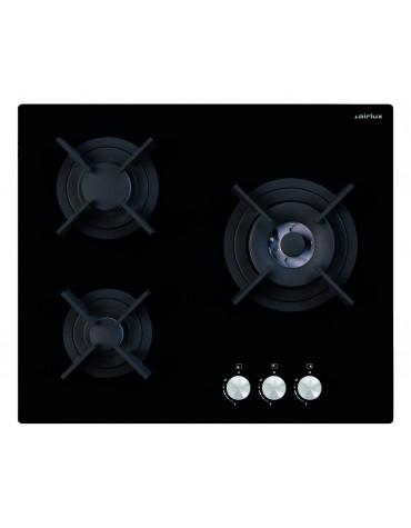 Table de cuisson gaz 60cm 3 feux 6150w noir