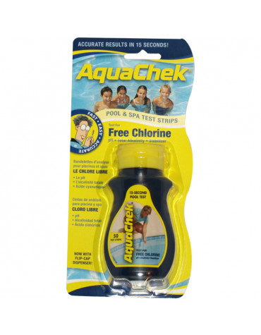 aquachek 50 bandelettes test pour chlore libre aquachek