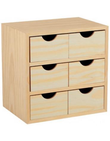 astigarraga Mini-bloc 6 tiroirs bois 28x28x20cm astigarraga