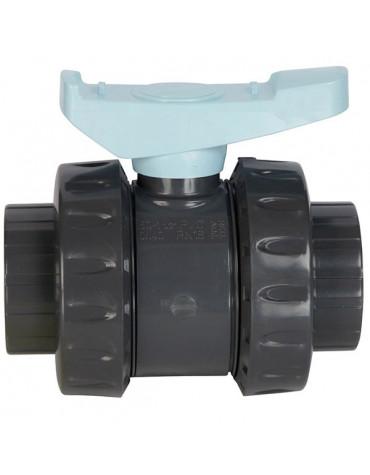 Vanne pvc astore double union à coller 50mm pn16