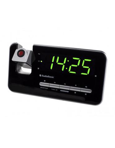 Radio réveil avec projecteur noir/argent