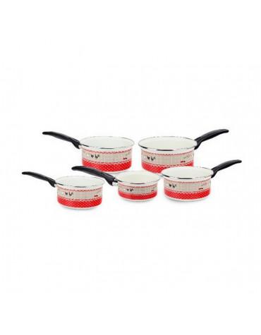 Série de 5 casseroles acier émaillé 12/14/16/18/20cm motifs poules