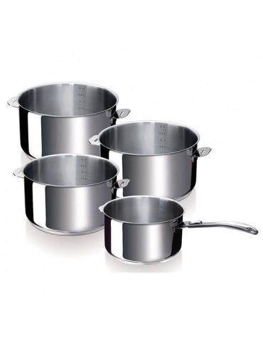 Série de 4 casseroles inox 14/16/18/20cm