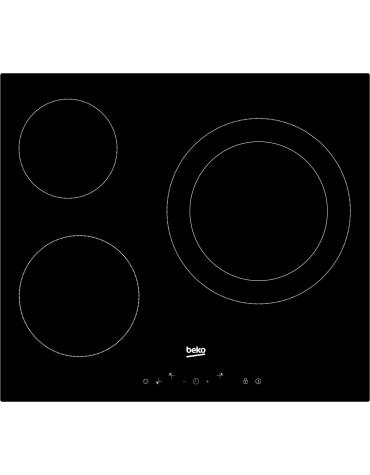 beko Table de cuisson vitrocéramique 60cm 3 feux 5700w noir beko