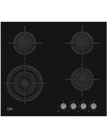 beko Table verre gaz 60cm 4 foyers noir beko