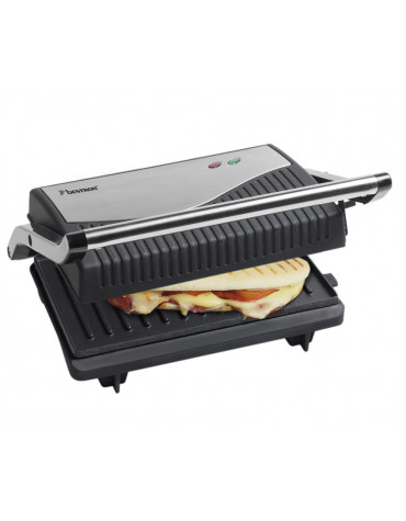Grill viandes et panini 750w noir/inox