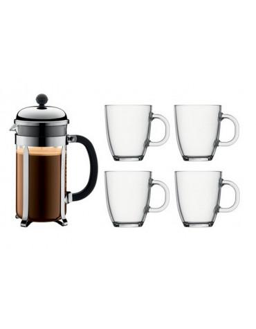 Set cafetière + 4 mugs 30 cl