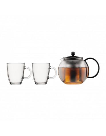 bodum Set théière 1l + 2 mugs 0.35l noir bodum