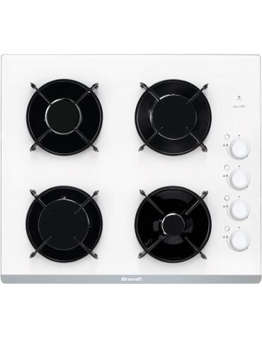 brandt Table de cuisson gaz 60cm 4 feux 7700w blanc brandt