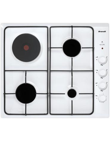 brandt Table de cuisson mixte gaz et électrique 58cm 4 feux blanc brandt