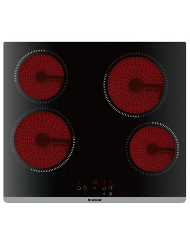 brandt Table de cuisson vitrocéramique 60cm 4 feux 6000w noir brandt