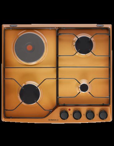 Table de cuisson mixte 60cm 4 feux sable doré brillant