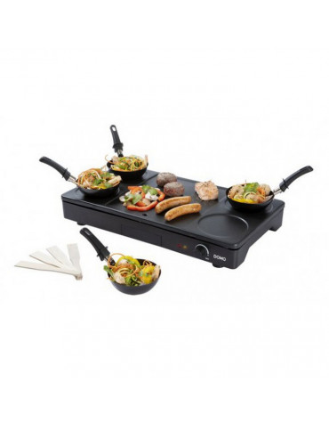 domo Set mini woks, crêpière et gril 1000w noir domo