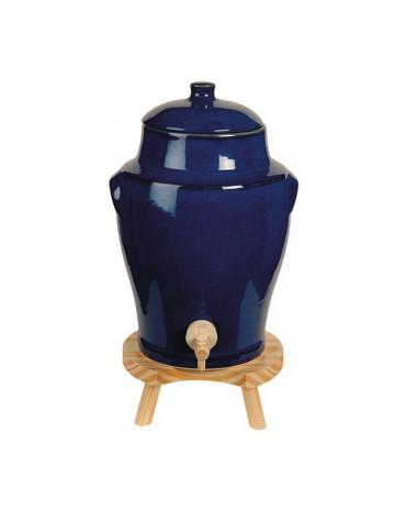 Vinaigrier traditionnel en grès 4l bleu + tabouret