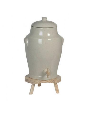 duhalle Vinaigrier traditionnel en grès 4l gris + tabouret duhalle