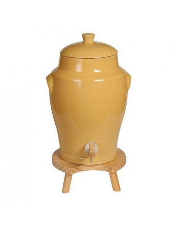 Vinaigrier traditionnel en grès 4l jaune + tabouret