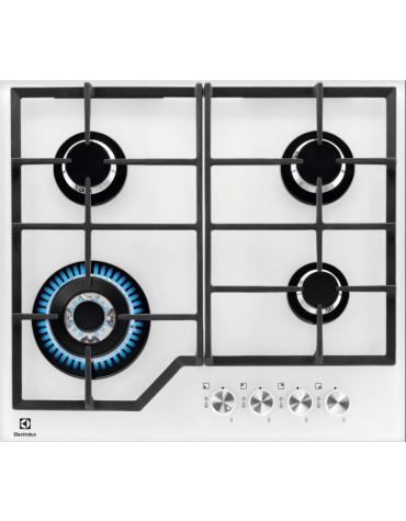 electrolux Table de cuisson gaz 59cm 4 feux 8900w blanc electrolux