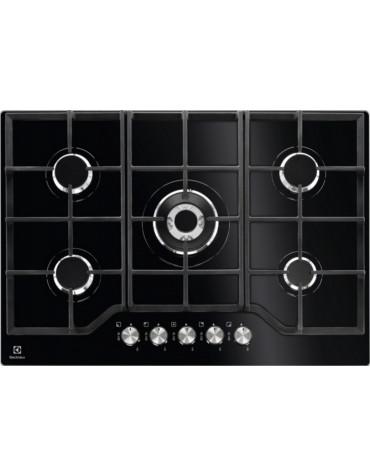 electrolux Table de cuisson gaz 74cm 5 feux 10900w verre noir electrolux