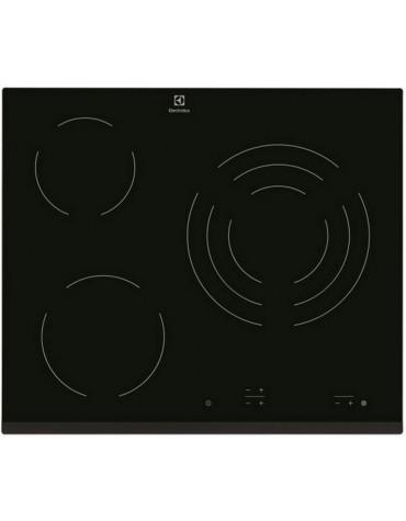 electrolux Table de cuisson vitrocéramique 60cm 3 feux 5700w noir electrolux