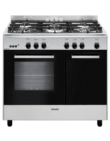 Piano de cuisson gaz 66l 5 feux inox/noir