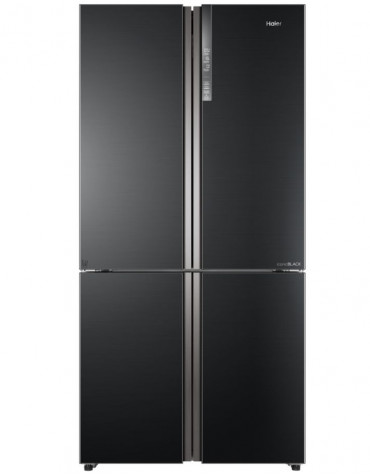 Réfrigérateur américain 91cm 610l a++ no frost noir/inox