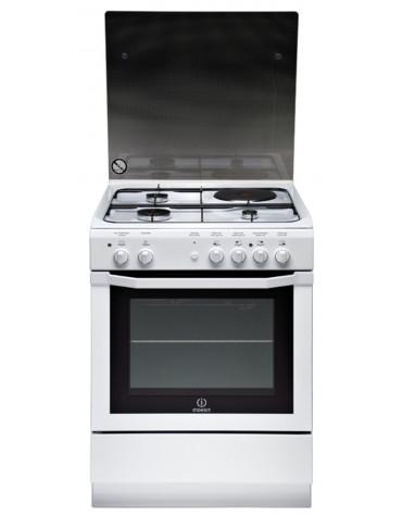 Cuisinière mixte 59l 4 feux noir/blanc