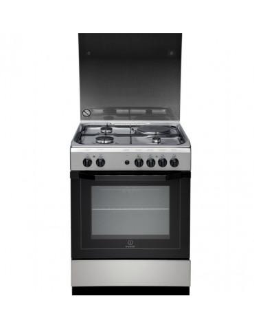 Cuisinière mixte a 59l 4 foyers noir/inox
