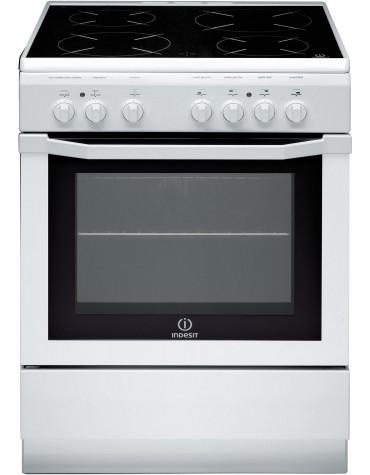 Cuisinière vitrocéramique 59l 4 feux blanc