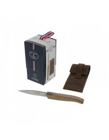 Couteau de poche inox manche chene + étui cuir