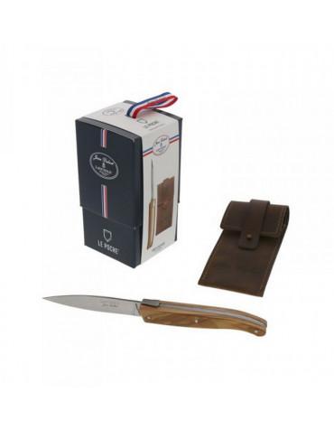 Couteau de poche inox manche olivier + étui cuir