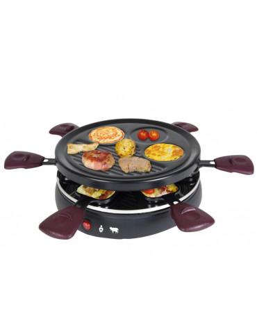 Appareil à raclette 6 personnes 800w + grill + crêpière