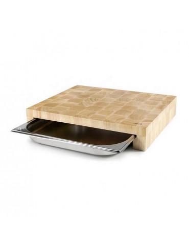 lacor Planche à découper bois 41,5 x 34 cm + bac inox lacor