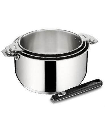 lagostina Série de 3 casseroles inox 16/18/20cm + poignée lagostina