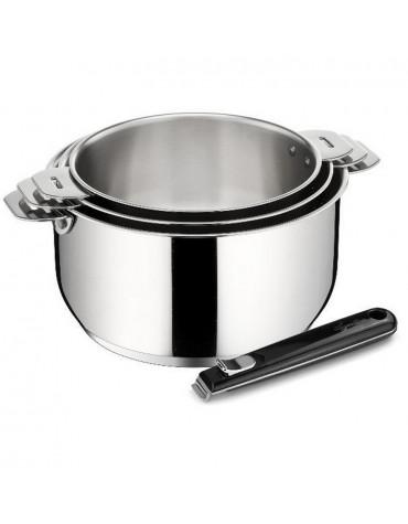 Série de 3 casseroles inox 16/18/20cm + poignée