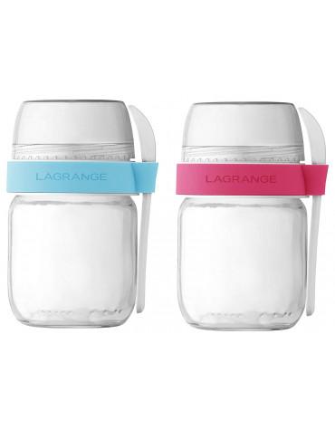 lagrange Lot de 2 pots en verre pour yaourtière lagrange