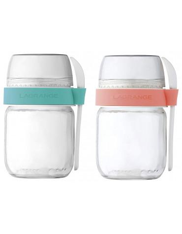Lot de 2 pots en verre pour yaourtière