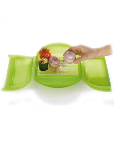 lekue Papillote silicone coffret vapeur 27,5x21cm vert lekue