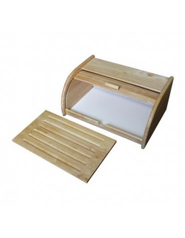 metaltex Boîte à pain 40cm + planche hévéa metaltex