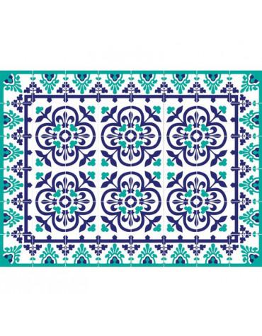 mosaiko Tapis de cuisine 50x100cm bleu vert mosaiko