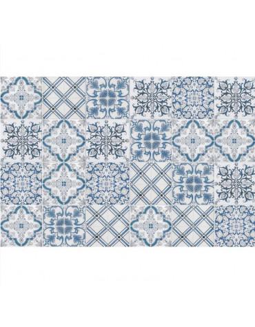 Tapis de cuisine 50x140cm bleu/gris